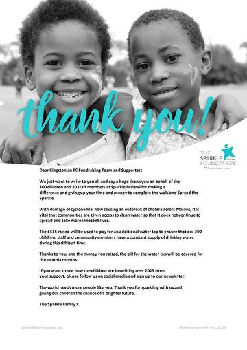 Sparkle Malawi Thank You to K's Supporters