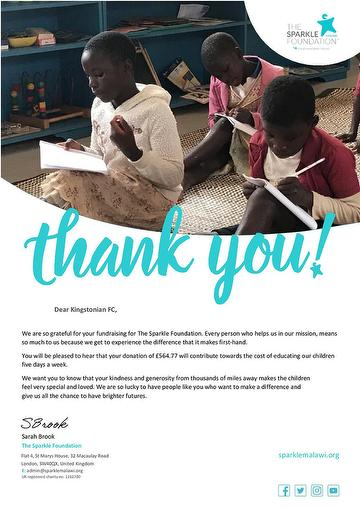Thank you from Sparkle Malawi